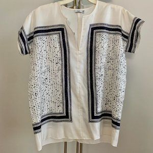 Vince Graphic Square Tee Tunic Blouse